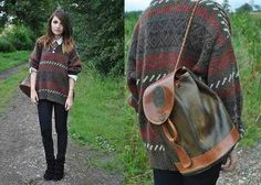 Slouchy leather backpack & oversized sweater