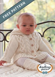 Make this warm and toasty set of knitted cable baby hooded jacket, blanket and crew-length socks, perfect as a comfy baptismal outfit during winter season. This lovely knitted set also makes for an impressive handmade baby shower present. Free Baby Sweater Knitting Patterns, Baby Booties Knitting Pattern, Knitted Baby Cardigan, Knit Baby Sweaters, Knitting For Kids, Free Knitting, Booties Crochet, Baby Knits, Baby Patterns