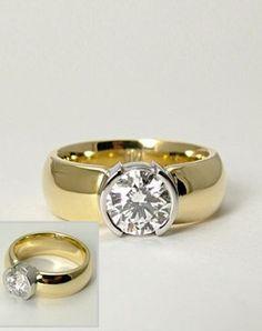 unique gold and platinum etoile half bezel ring