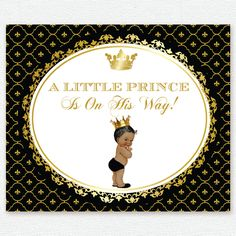 gold royal blue black white baby prince, crown baptism, christening, birthday, baby shower backdrop, sign poster, banner, party, decor, king by PRINTABLEPARTYPAPER on Etsy