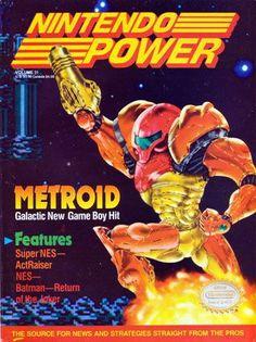 Nintendo's heroic female Samus Aran was the cover inspiration for the December 1991 Nintendo Power promoting Metroid II for Game Boy. Vintage Video Games, Classic Video Games, Retro Video Games, Video Game Art, Retro Games, Video Game Magazines, Gaming Magazines, Street Fighter 2, Nintendo
