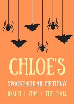 Orange Hanging Spiders and Bats Halloween Flyer