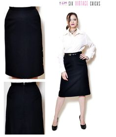 Pencil Skirt Vintage high waisted skirt wool  women clothing office clothes black midi skirt 80s clothing vintage Minimalist M by SixVintageChicks on Etsy