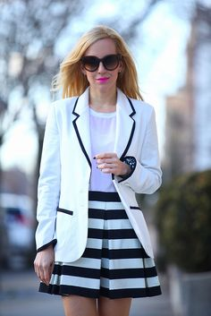 in love with the striped, pleated look of the skirt with the long blazer