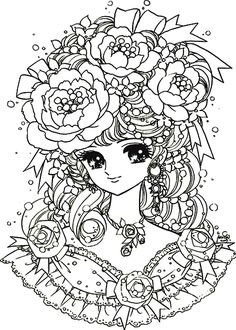 Galerie de coloriages gratuits coloriage-adulte-retour-enfance-fille-manga-fleurs.