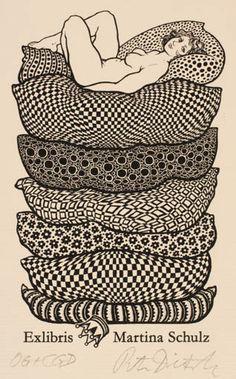 Ex Libris by Peter Dietzsch for Martina Schulz. Ex Libris, Book Labels, Princess And The Pea, Art Graphique, Linocut Prints, Erotic Art, Vintage Posters, Printmaking, Book Art
