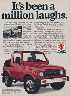 1988 Suzuki Samurai 4 x 4 Vintage Ad Print Wall Art Garage