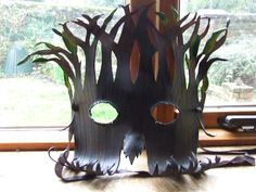 Tree spirit mask made by Sarah for a Christmas present - using 1.6-2mm veg tan shoulder leather, coloured with Identity Store water based leather stain.