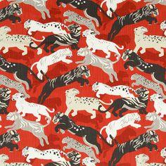 Orange Grey Upholstery Fabric - Cotton Animal Tiger Fabric - Orange Furniture Material - Animal Curtain Fabric - Black White Home Decor