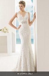 Rosa Clara 'Vigo' Beaded V-Neck Lace Overlay Mermaid Dress (In Stores Only)