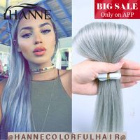"""Tape hair smoky grey color 7A skin weft seamless hair extensions 20pcs 20""""or 24"""" Brazilian pure color HANNE tape hair products"""