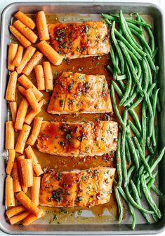 Sheet Pan Ginger Soy Glazed Salmon