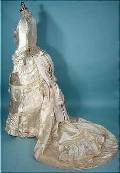 1880 M.A. CONNELLY, 7 East 16th Street, New York Ivory Silk Satin Bustle Wedding Gown Ensemble!