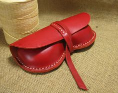 Hand Stitched Red Leather Glasses Case by FocusmanLeather on Etsy, $45.00