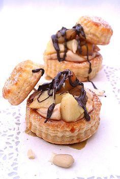 Vol au Vent w/ caramel pears, praline cream & chocolate sauce by Le Petrin, via Flickr