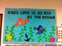 Summer Church Bulletin Boards | Summer bulletin board/Gods love just use star fish and crabs and fish