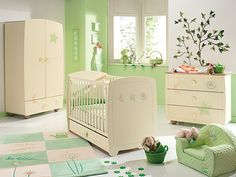 chambre bébé verte