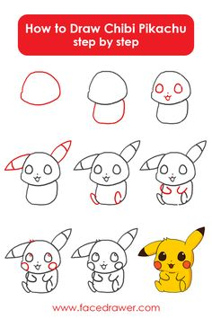 Pikachu is your favorite Pokemon? Learn to draw this very cute Chibi Pikachu. Simply observe alongside the simple steps and discover ways to draw chibi Pikachu. Cute Easy Drawings, Cute Animal Drawings, Cartoon Drawings, Cute Kawaii Drawings, Drawing Lessons, Drawing Tips, Drawing Ideas, Learn Drawing, Drawing Drawing