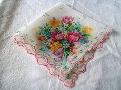 Handkerchief Vintage Hanky Pink Flowers by VintagePlusCrafts