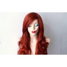 Copper Red Wig Long Curly Hairstyle Quality Heat Resistant Synthetic... ($90) ❤ liked on Polyvore featuring beauty products, haircare, hair styling tools, bath & beauty, grey, hair care, wigs and curly hair care