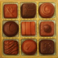 Large Painting of Chocolates 24 x 24 Oil on Canvas Original by Sally Veigel Delicious Desserts, Yummy Food, Grace Art, Candy Art, Vintage Valentine Cards, Food Drawing, Good Enough To Eat, Realism Art, Chocolate Box