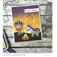 Omg! I cannot even stand the cuteness of the new Best In The West set from #mftstamps !!!! I love this little !   #cardmaking #copicmarkers #distressoxide #dienamics #diecutting #mftstamps #onmyblogtoday #stamping #stampingalatte