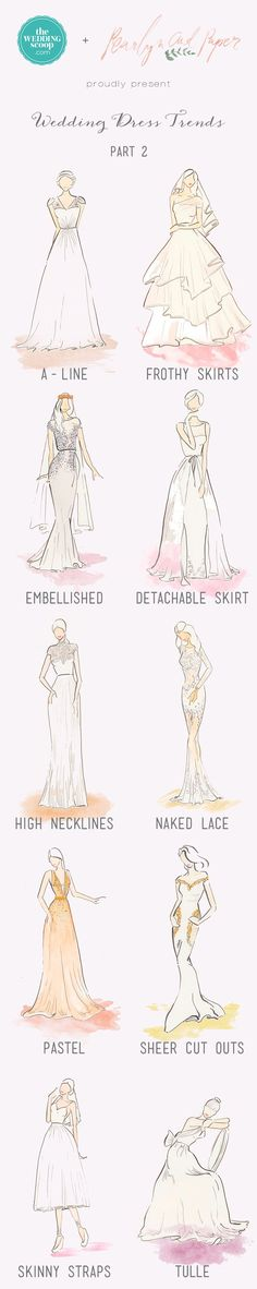 We're absolutely delighted to be back with Part 2 of the Top Wedding Dress Trends for 2015, beautifully illustrated in watercolour by Pearlyn & Paper accompanied by our editor's curated selection of gowns which embody these styles. In this feature, we bring you another 10 stunning trends from flattering A-lines to softly-layered tulle, sexy cut-outs to regal high necklines! If you haven't had a look at Part 1, check it out here.