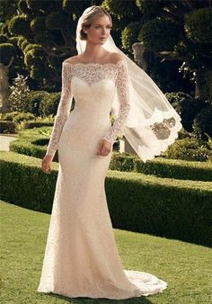 2015 Off-the-shoulder Long Sleeve Lace Wedding Dresses Bridal Gown Custom Made