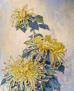 Chrysanthemum Painting - Japanese Chrysanthemum Series Part 2 Autumn By Irina Effa Japanese Flower Tattoo, Japanese Tattoo Designs, Japanese Sleeve Tattoos, Japanese Flowers, Chrysanthemum Drawing, Japanese Chrysanthemum, Chrysanthemum Flower, Lotus Flowers, Japanese Prints
