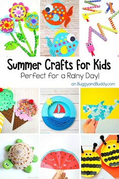 Summer Themed Crafts for Kids: All kinds of cute and fun crafts for summer- perfect boredom busters or for a rainy day. You'll find fish crafts, bee crafts, pinwheels and more! Summer Crafts For Kids, Summer Activities For Kids, Crafts For Kids To Make, Craft Projects For Kids, Arts And Crafts Projects, Art For Kids, Summer Crafts For Preschoolers, Craft Ideas, Play Ideas