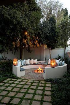 Backyard Patio, Backyard Landscaping, Landscaping Ideas, Backyard Seating, Sloped Backyard, Garden Seating, Outdoor Seating, Cool Backyard Ideas, Inexpensive Landscaping