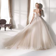 Nicole Spose - A timeless, sparkling ballgown with off the shoulder straps! Now available at Bowties Bridal 456 5688 Princess Fancy Dress, Princess Ball Gowns, Princess Dresses, Disney Princess, Bridal Gowns, Wedding Gowns, Wedding Gown Gallery, Nicole Fashion, Blush Gown