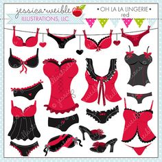 Oh La La Lingerie Red clipart set comes with 9 cute graphics including: a clothesline of bras and panties, a pair of bedroom slippers, a sleep mask, and 6 sexy lingerie outfits! Graphics are created in vector image software and are saved at High Quality 300 dpi Resolution. Image Size: -Graphics will be 7 inches at their tallest or widest point. Formats Included: -High Resolution JPG with White Background -High Resolution PNG with Transparent Background -EPS Vector Format F...
