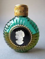 Vintage Czech glass handmade perfume bottle with cameo and vintage perfume