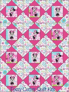 Minnie Mouse Pink Blue Green Floral Flowers Fabric Baby Child Fast Easy Make Pre-Cut Quilt Blocks Top Kit Quilting Squares Pieces Material