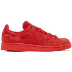 adidas Originals Red Suede Stan Smith Sneakers ($84) ❤ liked on Polyvore featuring shoes, sneakers, red, perforated sneakers, adidas originals trainers, perforated suede sneakers, round toe sneakers and lace up shoes