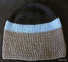 Basic Mens Beanie - free crochet pattern by Delisa J Earl / Camping in Australia. Dk yarn.