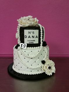 Chanel number 5 inspired birthday cake by Frosted Art Bakery and Studio