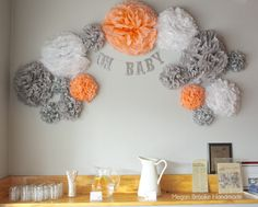Love this peach, white and gray Tissue Pom Pom Display