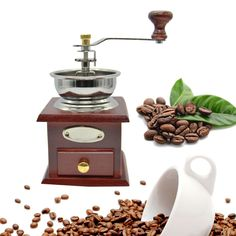 Mini Manual Coffee Grinder  Mill Wood Stand Bowl Coffee Bean Grinder Hand Crank Adjustable Wood Iron Antique Creative Gifts