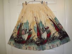 Vintage 50's/60's Novelty/Border Print Full Skirt #Handmade