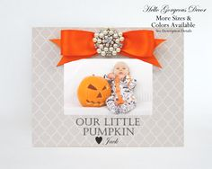 baby picture frame our little pumpkin personalized gift new baby shower newborn fall decor halloween decorations - Personalized Halloween Decorations