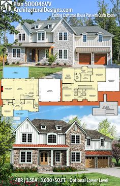 Architectural Designs House Plan 500046VV has 4 beds | 3.5 baths | 3,600+ square feet of heated living space with an optional lower level (1,100+ sq. ft.). Ready when you are. Where do YOU want to build? #500046VV #adhouseplans #architecturaldesigns #houseplan #architecture #newhome #newconstruction #newhouse #homedesign #dreamhouse #homeplan #architecture #architect #houses #homedecor #northwest #craftsman