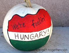 Decorate and display a pumpkin representing your missionary's mission! SO CUTE! ( Budapest Hungary Mission)