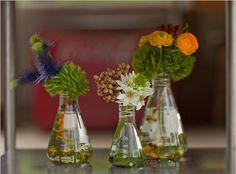 Beaker vases, for science boyfriend.... @Cheyenne Summer