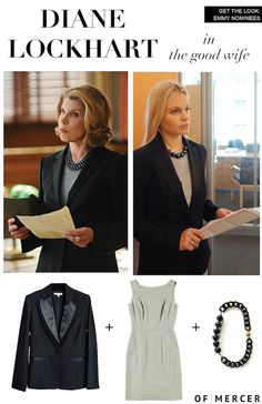 Get the Look: Emmy Nominees!  Diane Lockhart of The Good Wife http://www.ofmercer.com/collections/blazers/products/gotham-tuxedo-blazer