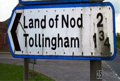 Land of Nod, Yorkshire Funny Street Signs, Funny Signs, South Yorkshire, Yorkshire Dales, Funny Place Names, Land Of Nod, Irish Sea, Street Names, North Sea