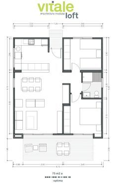 2 Bedroom House Plans, Cottage Style House Plans, Bungalow House Design, Small House Design, Little House Plans, Small Modern House Plans, Small House Floor Plans, Building A Container Home, Container House Plans