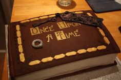 Once Upon A Time Storybook cake with ring and key/keyring, which I made and decorated for my friend's 19th birthday