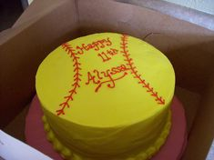 Softball cake idea to consider Need this for Marley's birthday!